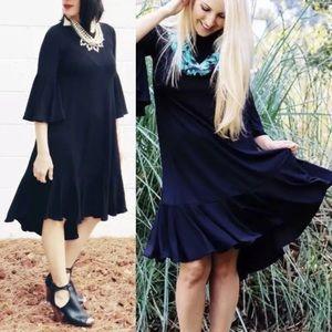 LuLaRoe Maurine Bell Sleeve Noir Swing Dress